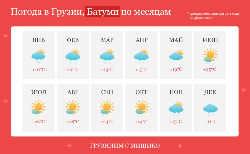 Погода в Батуми по месяцам, средняя температура