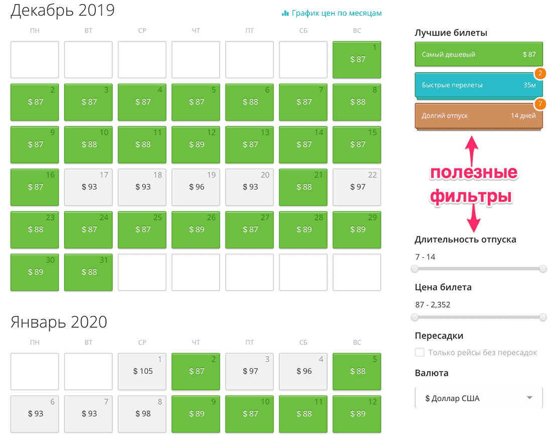 календарь цен на авиабилеты в грузию из минска